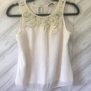 Ann Taylor Blouse with Lace top XS